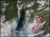 Fires Surrounding Lake Baikal