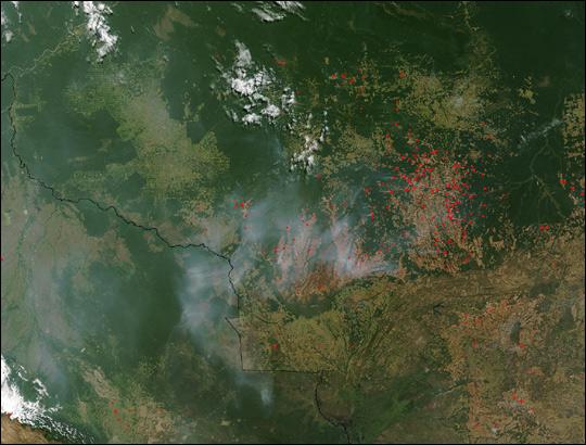 Fires Surrounding Xingu National Park, Brazil