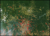Fires Surrounding Xingu National Park, Brazil