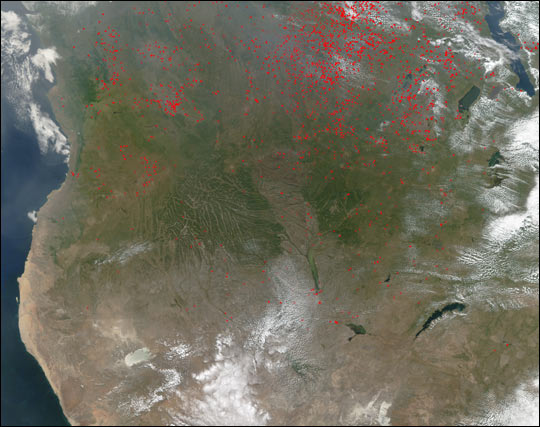 Biomass Burning in Central and Southern Africa