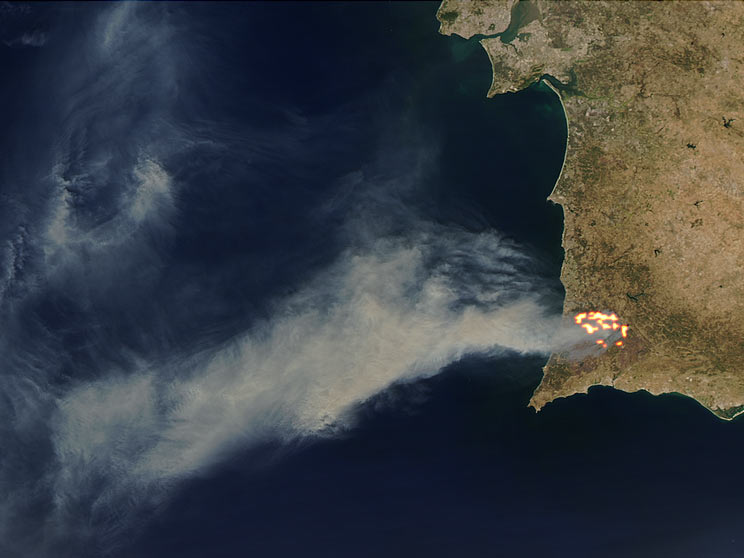 Forest Fires In Portugal Natural Hazards - Portugal map satellite