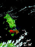 Fires and burn scars on Cape Barren Island, Australia (false color) - related image preview