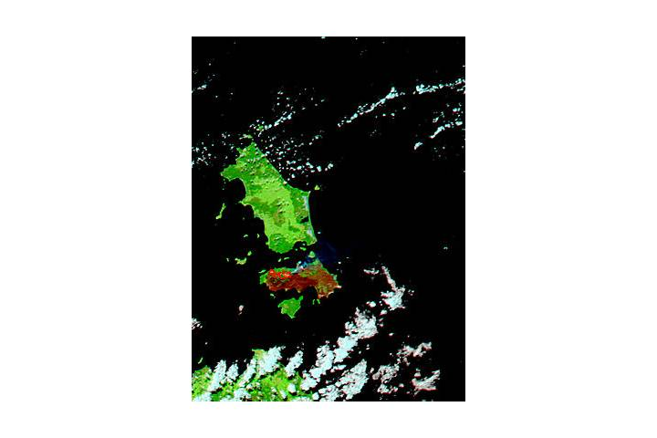 Fires and burn scars on Cape Barren Island, Australia (false color) - selected image