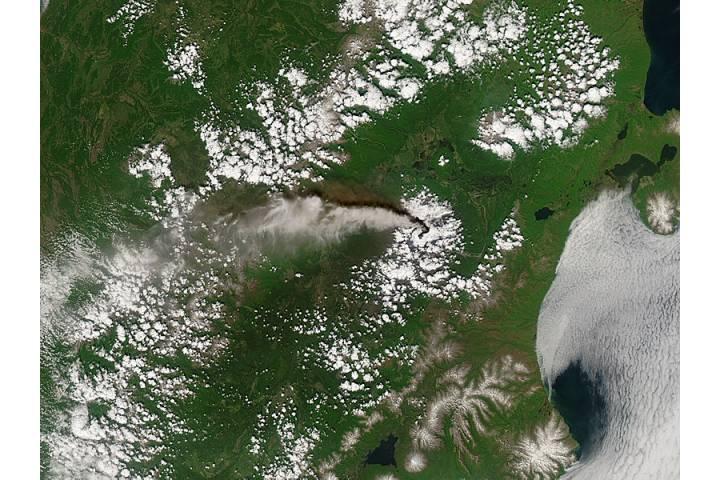 Plume from Kliuchevskoi volcano, Kamchatka Peninsula, Eastern Russia - selected image