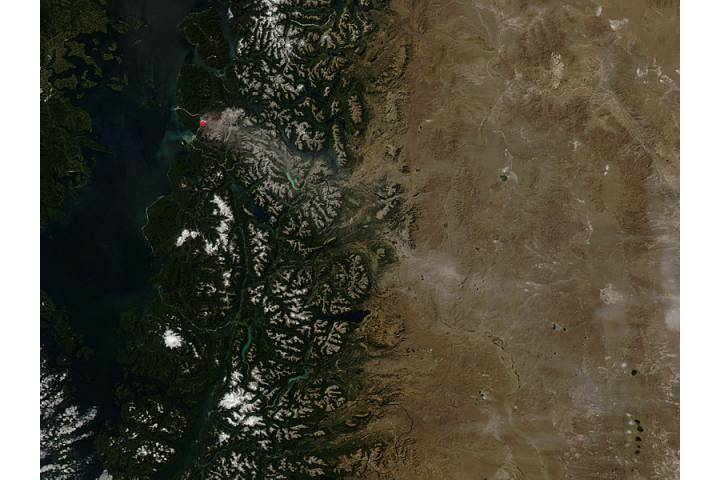 Ash on ground from Chaiten volcano, Chile - selected image