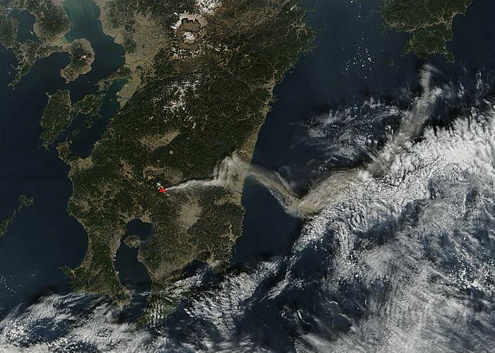 Ash plume from Shinmoe-dake, Kirishima complex, Japan - related image preview