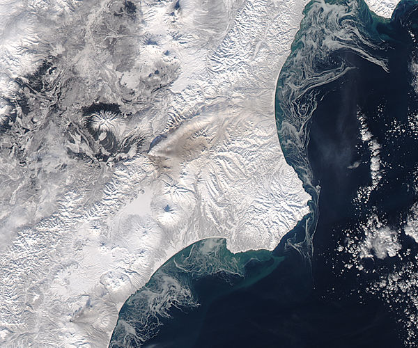 Ash plume and ash on snow from Kizimen, Kamchatka Peninsula, eastern Russia - related image preview