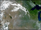 Smoke over the Midwestern U.S. and Canada