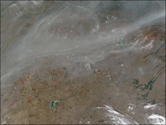 Fires in Central Asian Steppes