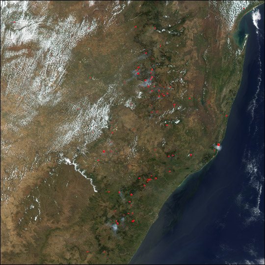 Fires along the Southeast African coast