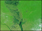 Seasonal floods along the Zambezi River