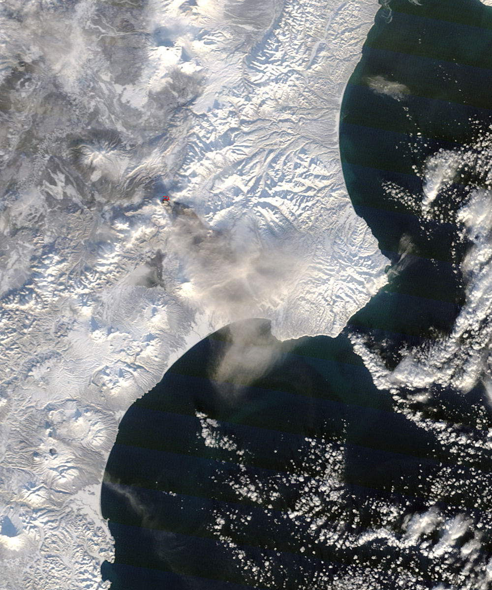 Ash plume from Kizimen, Kamchatka Peninsula, eastern Russia (morning overpass) - related image preview