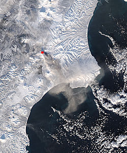 Ash plume from Kizimen, Kamchatka Peninsula, eastern Russia (afternoon overpass) - related image preview