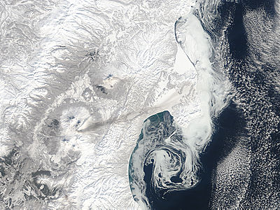 Plume and ash on snow from Bezymianny, Kamchatka Peninsula, eastern Russia - related image preview