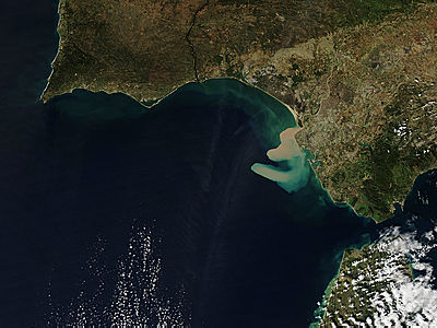 Sediment plume from the Guadalquivir River, Spain - related image preview