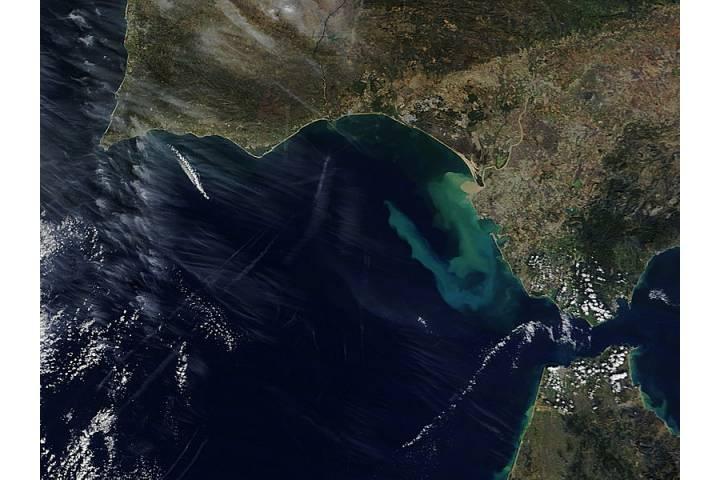 Sediment plume from the Guadalquivir River, Spain - selected image