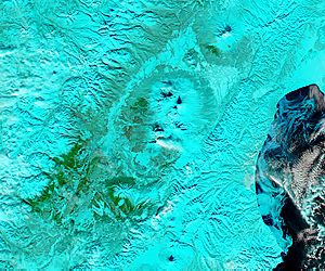 Plume from Plosky Tolbachik, Kamchatka Peninsula, eastern Russia (false color) - related image preview