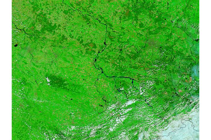 Floods in central Germany (false color) - selected image