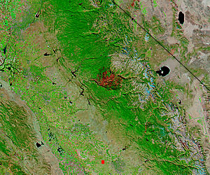 Burn scar from the Rim Fire, California (false color) - related image preview