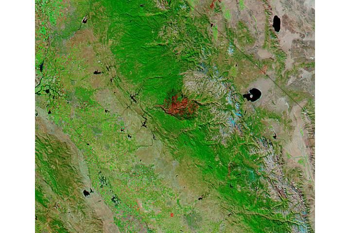 Burn scar from the Rim Fire, California (false color) - selected image