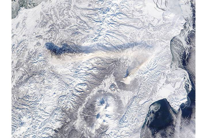 Ash plume from Shiveluch, Kamchatka Peninsula, eastern Russia - selected image