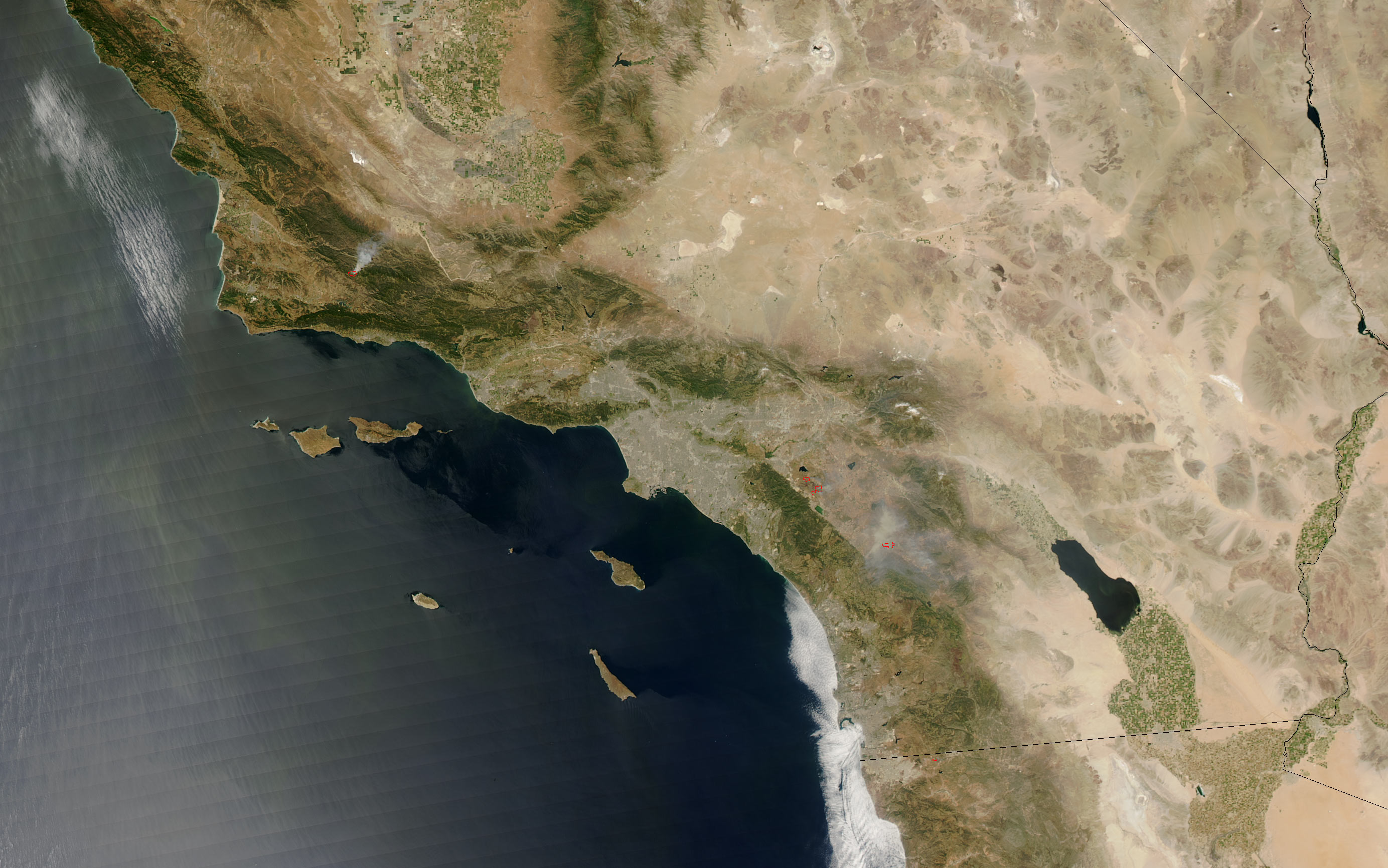 Fires Southeast of Los Angeles California  Natural Hazards