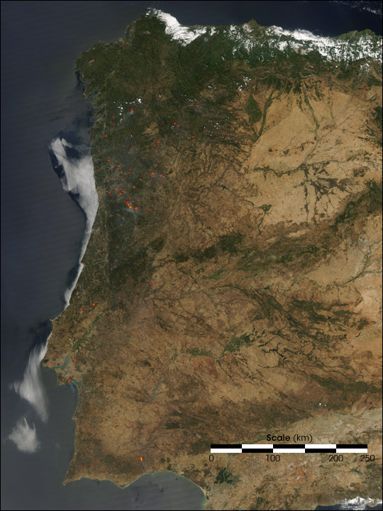 Fires in Spain and Portugal