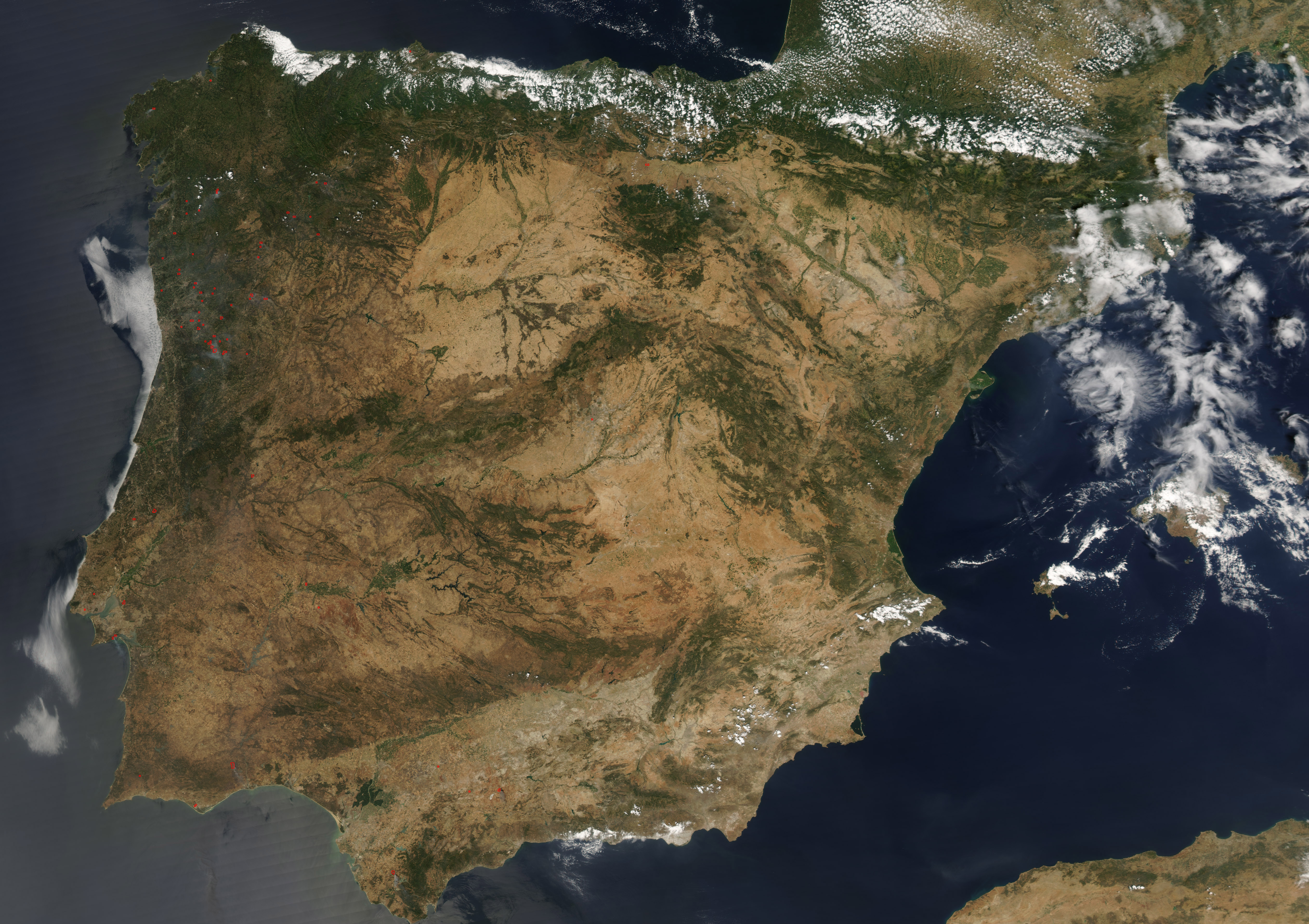 Fires In Spain And Portugal Natural Hazards - Portugal map satellite