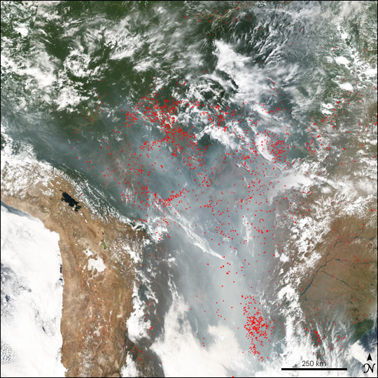 Fires in Central South America