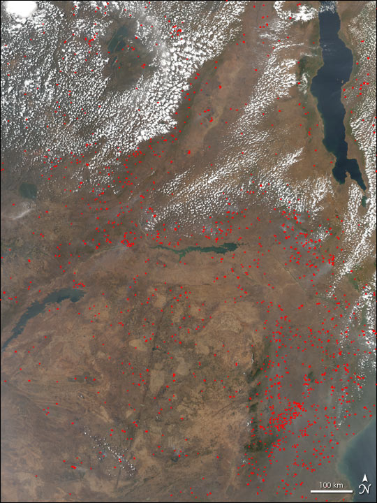 Fires Near Lake Malawi, Africa