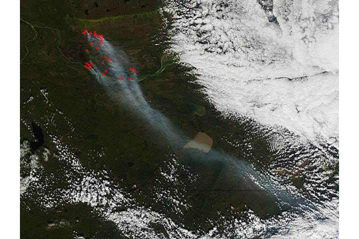 Fires in northern Canada - selected image