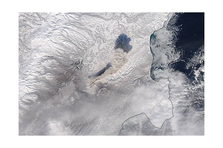 Ash plume from Shiveluch, Kamchatka Peninsula (Aqua overpass) - selected image