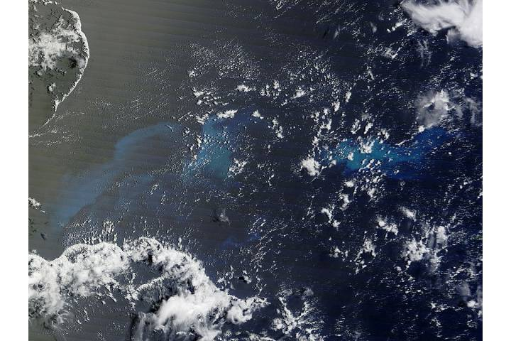 Carbonate sediments lofted by Tropical Cyclone Pam - selected image