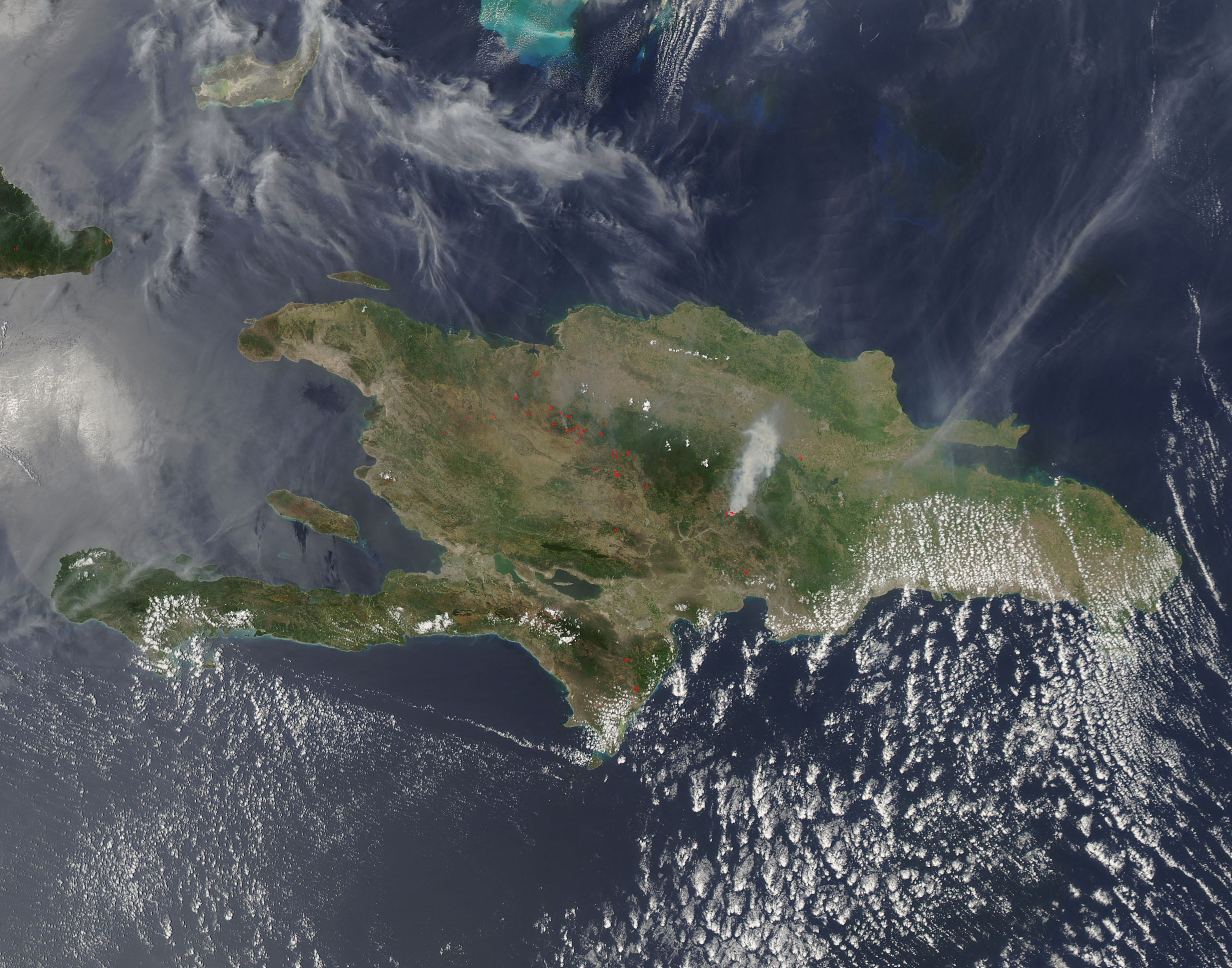 Fires in Hispaniola (afternoon overpass) - related image preview