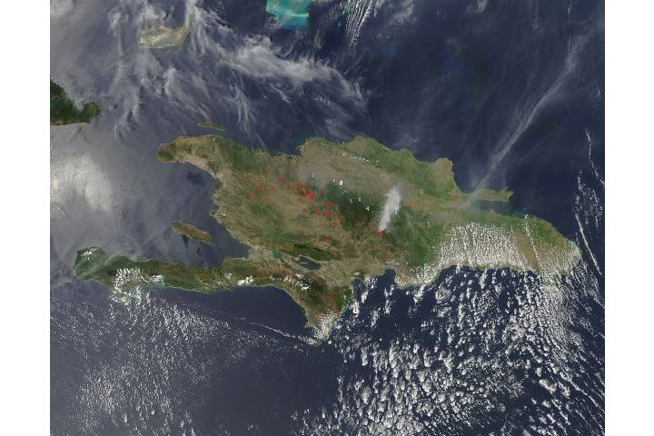 Fires in Hispaniola (afternoon overpass) - selected image