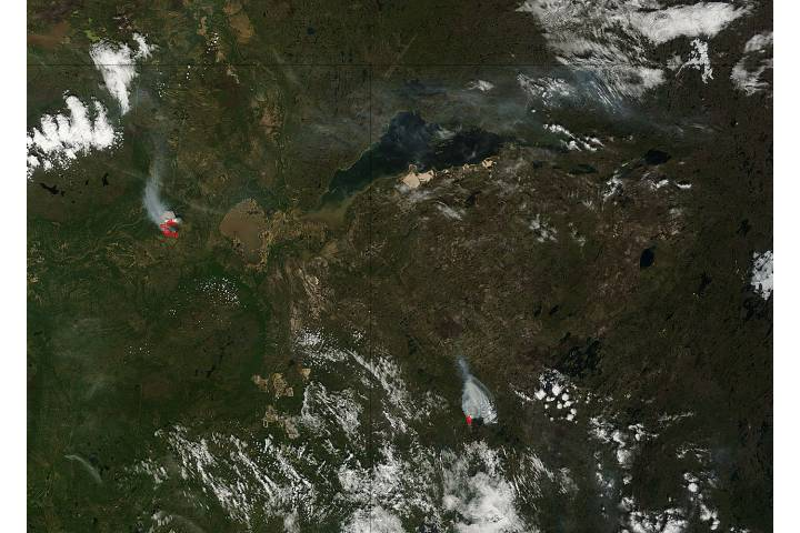 Fires in northern Canada (morning overpass) - selected image