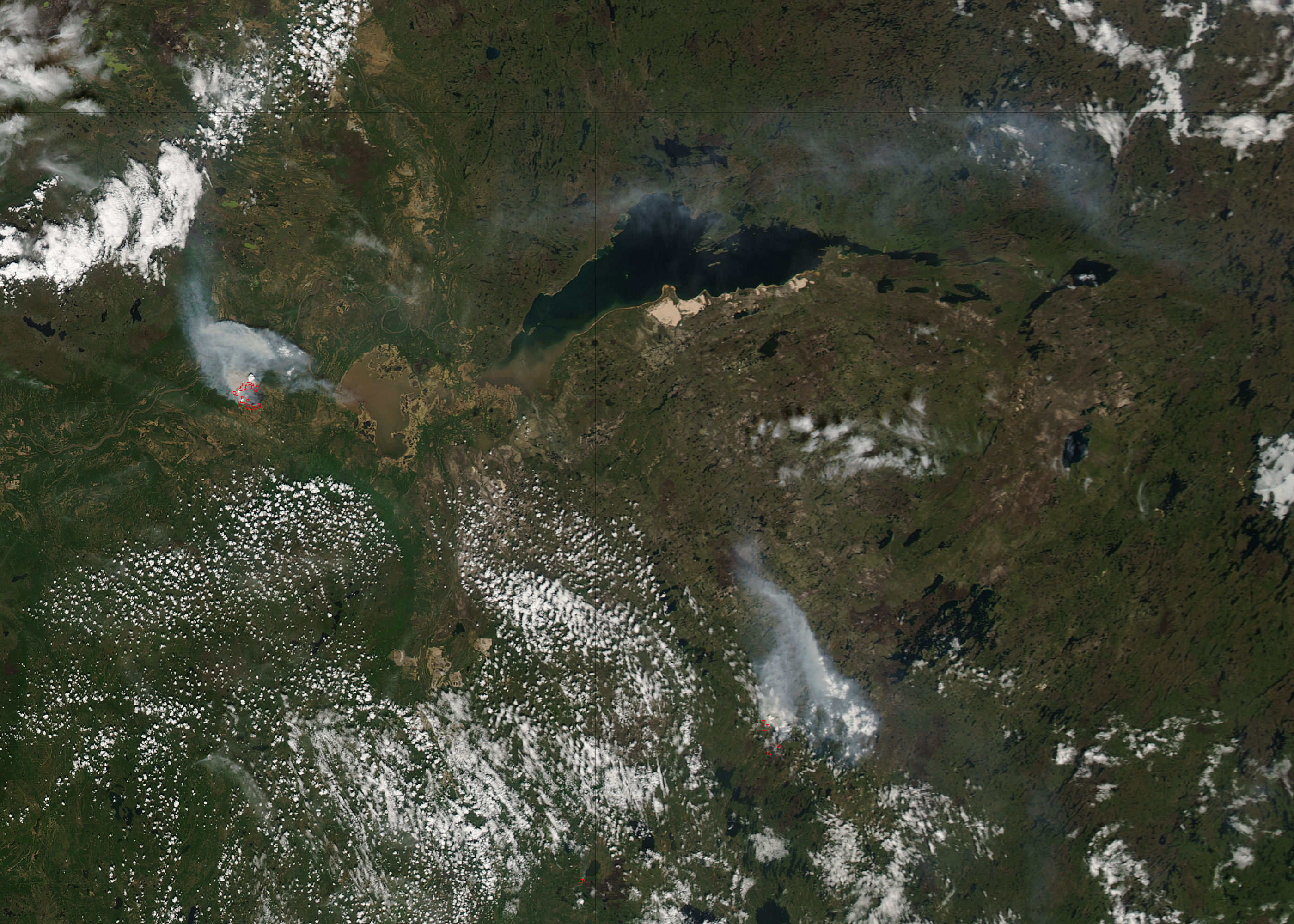 Fires in northern Canada (afternoon overpass) - related image preview