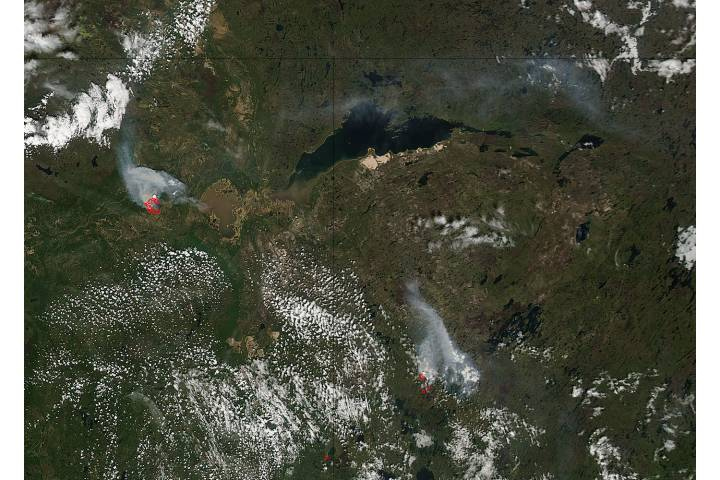 Fires in northern Canada (afternoon overpass) - selected image