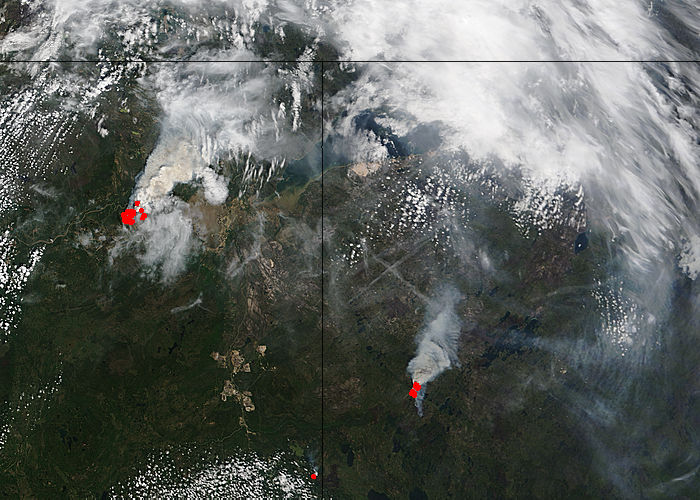 Fires in northern Canada (Terra overpass) - related image preview