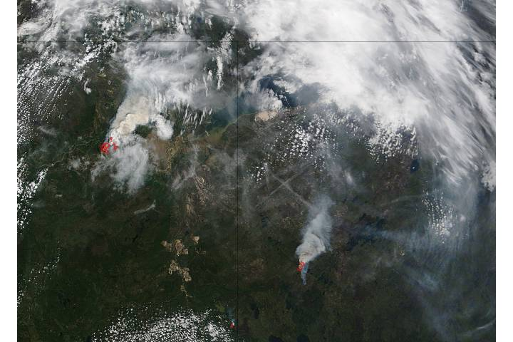 Fires in northern Canada (Terra overpass) - selected image