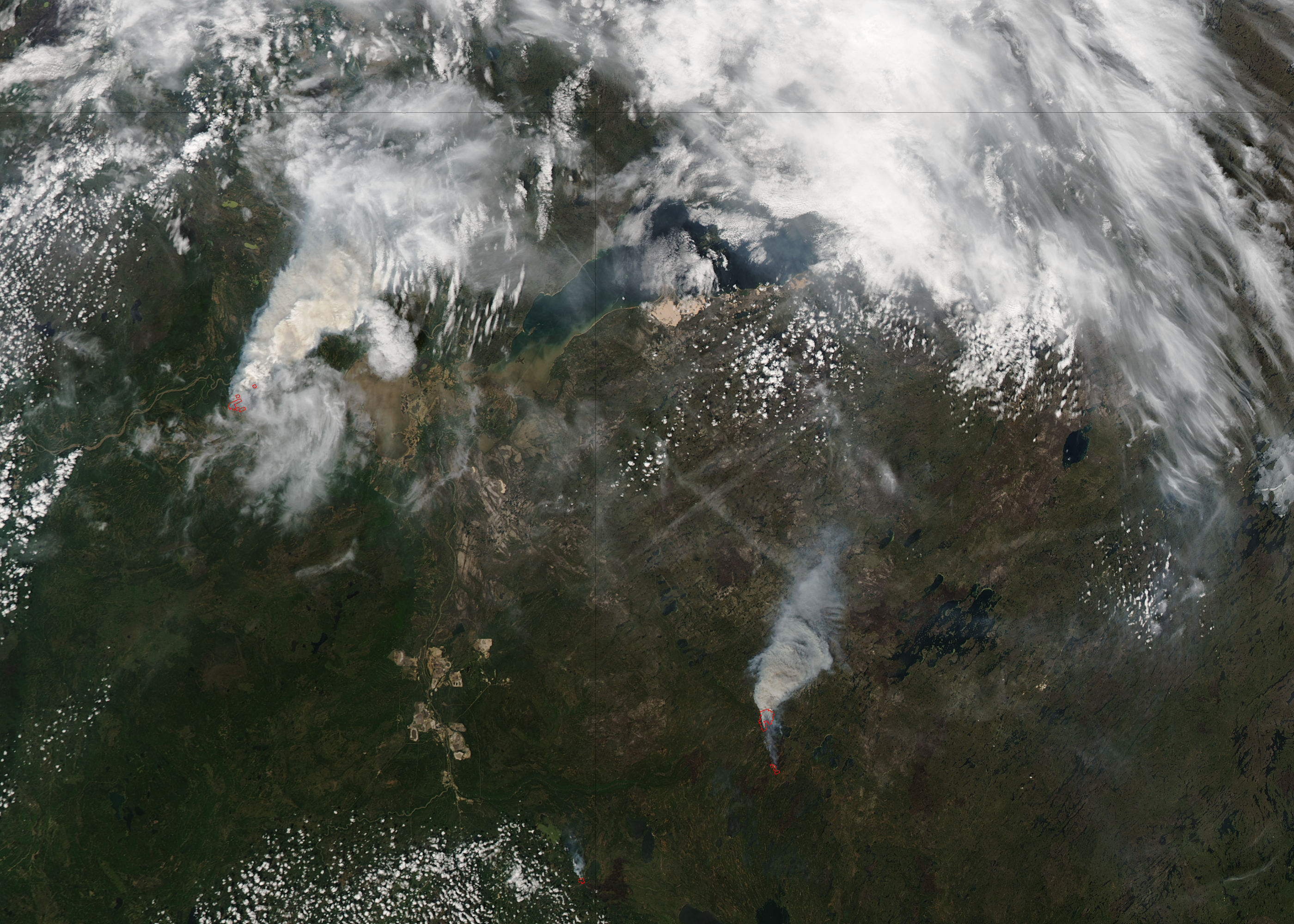 Fires in northern Canada (Aqua overpass) - related image preview