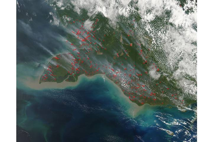 Fires and smoke in southern New Guinea - selected image