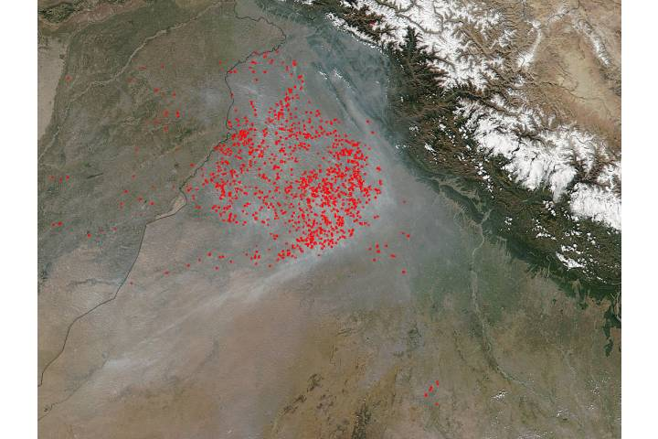 Fires and smoke in northwest India - selected image