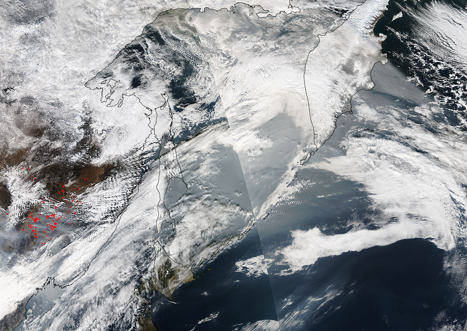 Smoke from Asian fires over the northern Pacific Ocean - related image preview