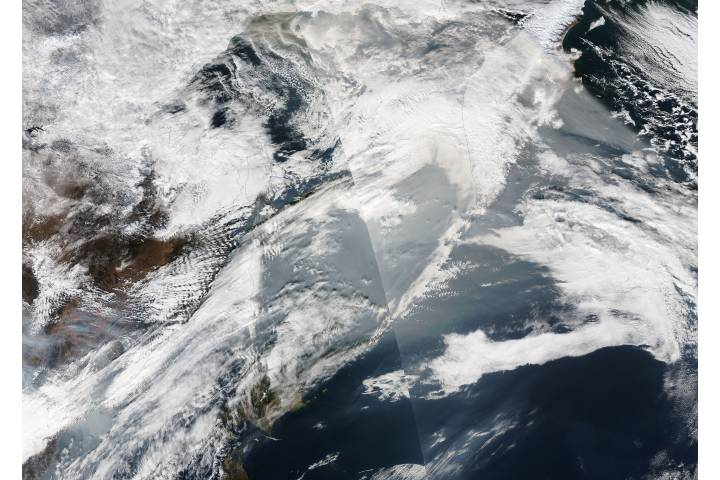 Smoke from Asian fires over the northern Pacific Ocean - selected image