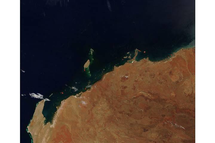 Fires along the northwest coast of Australia - selected image