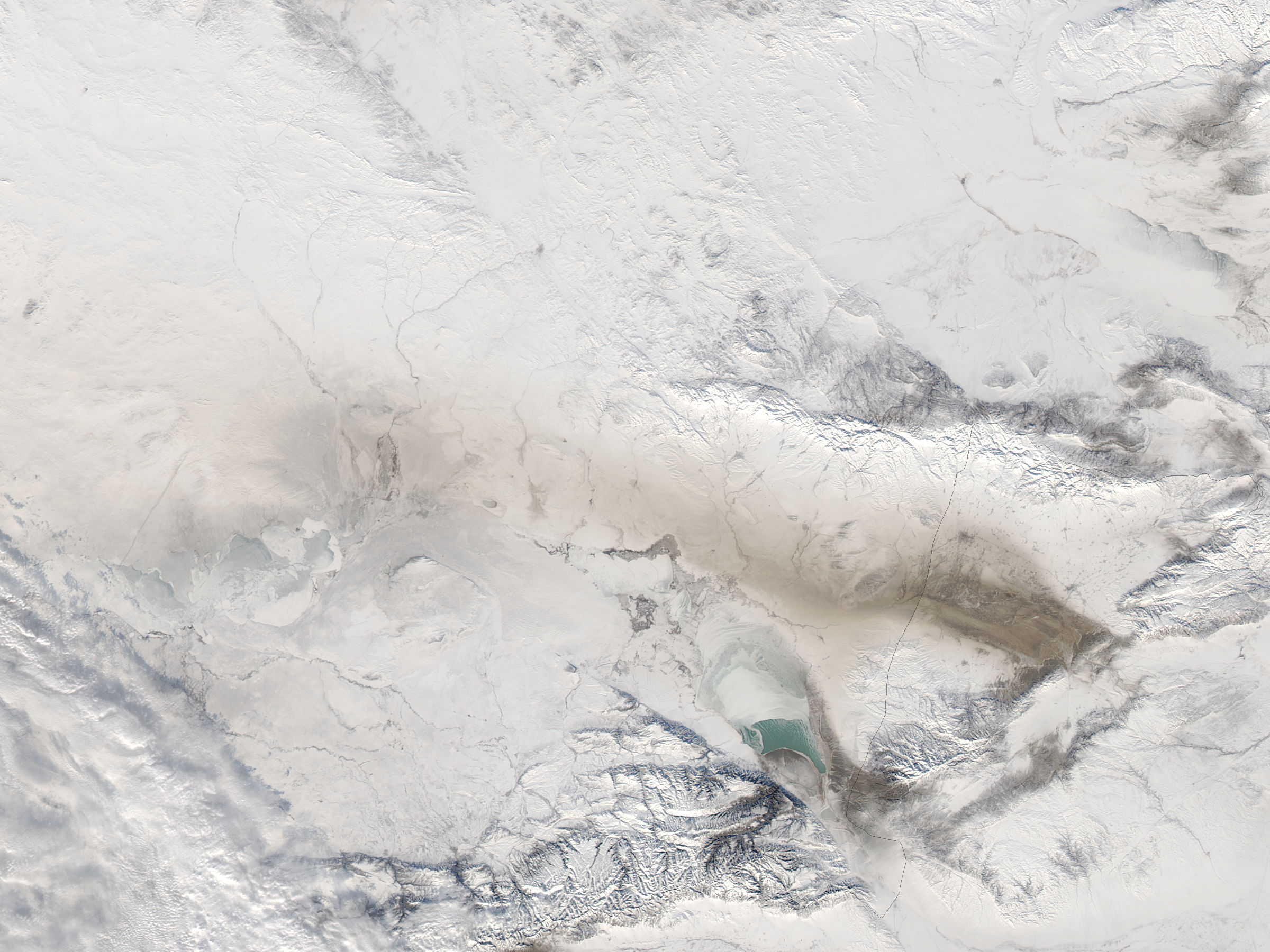 Dust over snow in central Asia - related image preview