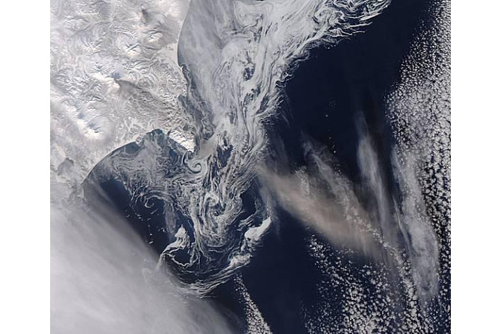 Ash plume from Zhupanovsky, Kamchatka Peninsula (afternoon overpass) - selected image