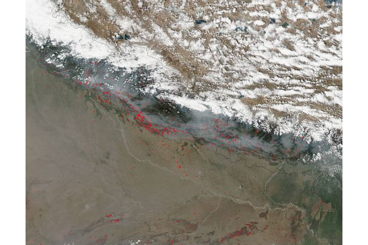 Fires and smoke in Nepal - selected image