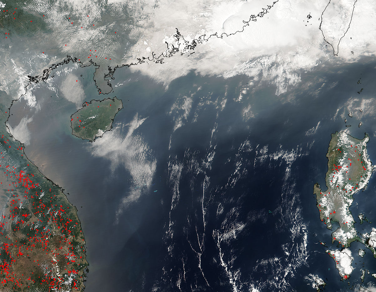Smoke from Indochina fires over the South China Sea - related image preview